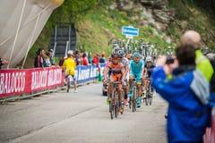 Sestriere, Italia 30 de mayo de 2015; El grupo de ciclistas profesionales aborda la subida pasada antes de arriva Foto de archivo libre de regalías