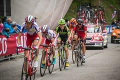 Sestriere, Italia 30 maggio 2015; Il gruppo di ciclisti professionisti affronta l'ultima salita prima del arriva Immagini Stock Libere da Diritti