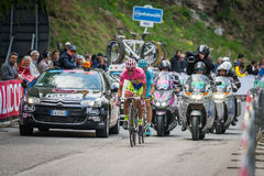 Sestriere, Italy 30 May  2015; Alberto Contador in Pink Jersey  tackles the last climb before before arrival Stock Images