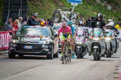 Sestriere, Italy 30 May  2015; Alberto Contador in Pink Jersey  tackles the last climb before before arrival. Of  a stage of the Tour of Italy 2015. Hard stage Royalty Free Stock Image