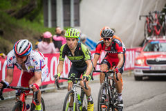 Sestriere, Italy 30 May  2015; Group of Professional Cyclists tackles the last climb before arriva. L of  a stage of the Tour of Italy 2015. Hard stage mountain Stock Photography