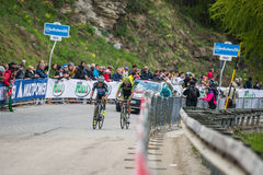 Sestriere, Italy 30 May  2015; Rigoberto Uran and Ryader  Hejedal tackles the last climb before arrival Royalty Free Stock Images
