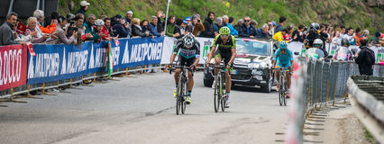 Sestriere, Italy 30 May  2015; Rigoberto Uran and Ryader  Hejedal tackles the last climb before arrival Royalty Free Stock Photography