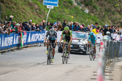 Sestriere, Italy 30 May  2015; Rigoberto Uran and Ryader  Hejedal tackles the last climb before arrival Stock Images