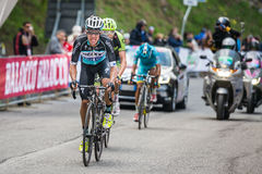 Sestriere, Italy 30 May  2015; Rigoberto Uran and Ryader  Hejedal tackles the last climb before arrival Stock Photos