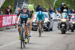 Sestriere, Italy 30 May  2015; Rigoberto Uran and Ryader  Hejedal tackles the last climb before arrival Royalty Free Stock Photo