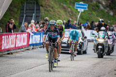 Sestriere, Italy 30 May  2015; Rigoberto Uran and Ryader  Hejedal tackles the last climb before arrival Stock Image