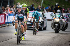 Sestriere, Italy 30 May  2015; Rigoberto Uran and Ryader  Hejedal tackles the last climb before arrival. Of  a stage of the Tour of Italy 2015. Hard stage Stock Photography