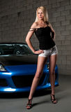 Sesual blond and car Royalty Free Stock Photos