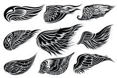Setów nakreślenia skrzydła. Tatuażu projekt Zdjęcia Royalty Free
