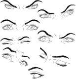 Setów oczy: determinacja, ostrość, sen, ból, wytrwałość, strach, wakacje Fotografia Stock