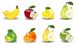 set Äpfel, Bananen, Birnen, Orangen, Zitronen und Kalke Stockfotografie