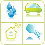 Set ökologische Ikonen Stockfotos