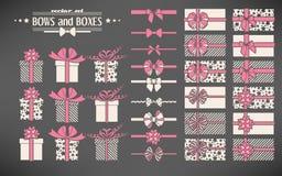 Set łęki i prezentów pudełka Obraz Stock