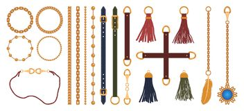 Set łańcuchy, patki, paski, warkocz i breloczek, Mody biżuterii elementów druk dla tkanina projekta wektor ilustracji