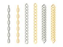 Set łańcuchy złoto i srebro ilustracji