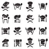 Set łyżka, rozwidlenie i szef kuchni, ilustracji