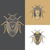 Set ścigi ikony, symbole i logowie dla antivirus, dla mobilnych i komputerowych zastosowań Obraz Royalty Free