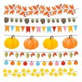 Set śliczna jesień, spadek girlandy z światłami, flaga, acorns, liście, banie, sosna rożki i różani biodra, Kolekcja royalty ilustracja