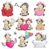 Set Śliczna kreskówki krowa ilustracji