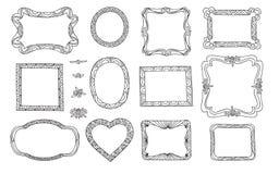 Set śliczna rama Wiktoriański ornamentuje fotografii ramy Doodle linia Zdjęcia Royalty Free