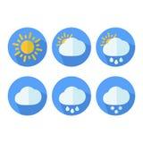 Set śliczne colourful pogodowe ikony ilustracja wektor