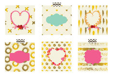 Set śliczne karty dla świętować walentynki ` s dzień Obrazy Stock