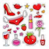 Set śliczne kreskówek łaty, odznaki, szpilki i majchery dla dziewczyny, ilustracja wektor
