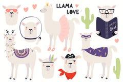 Set śliczne lamy royalty ilustracja