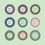 Set śliczne ramy, kolorowi round kształty z bezszwowym projektem projektuje obraz royalty free