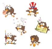 Set śliczne sowy dla ciebie projektuje kreskówka Obrazy Stock
