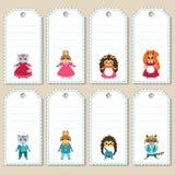 Set śliczne zwierzęce prezent etykietki Obrazy Royalty Free
