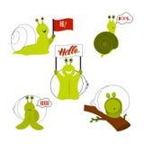 Set śliczni ślimaczki odosobniony ilustracji