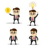 Set śliczni charaktery biznesmeni i urzędnik pozy wektor Kierownika charakter Płaska ilustracja Szczęśliwy nowy pomysł Zdjęcie Royalty Free