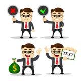 Set śliczni charaktery biznesmeni i urzędnik pozy wektor Kierownika charakter Pieniądze torba w ręce Zdjęcia Royalty Free
