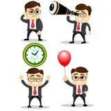 Set śliczni charaktery biznesmeni i urzędnik pozy wektor Kierownika charakter Rewolucjonistka balon zegar Obrazy Royalty Free