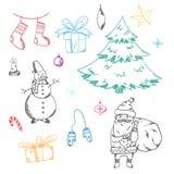 Set śliczni doodle bożych narodzeń elementy ilustracja wektor