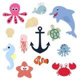 Set śliczni dzieci zwierzęta kolekcja odznaki i etykietki underw Zdjęcia Stock