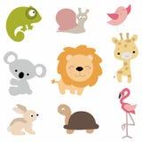 Set śliczni dzieci zwierzęta w kreskówka stylu na białym tle C Fotografia Royalty Free