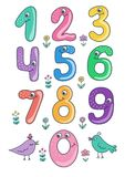 Set śliczni i śmieszni kolorowi uśmiechnięci numerowi charaktery od (0) 9 Zdjęcia Royalty Free