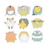 Set śliczni kolorowi potwory, ręka rysująca w doodle stylu, odizolowywającym na białym tle Uroczy charaktery inkasowi wektor ilustracja wektor