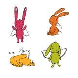 Set śliczni króliki z skrzydłami royalty ilustracja