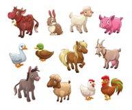 Set śliczni kreskówek zwierzęta gospodarskie ilustracji