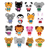Set Śliczni kreskówek zwierzęta Odizolowywający Fotografia Royalty Free