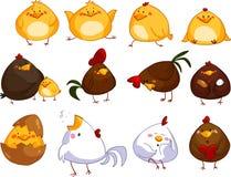 Set śliczni kreskówka kurczaki zdjęcia royalty free