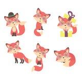 Set śliczni kreskówka lisy ilustracji