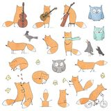 Set Śliczni lisy i ptaki ilustracja wektor