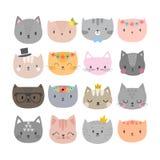 Set śliczni moda koty Śmieszni doodle zwierzęta Figlarki w kreskówka stylu Obraz Stock