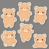 Set śliczni niedźwiedzie Zdjęcia Royalty Free