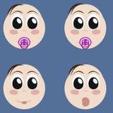 Set śliczni nowonarodzeni dzieci emoticons Bardzo ekspresyjne ale proste kreskówki dziecka twarze Różnorodni dzieci wyrażenia, em ilustracji